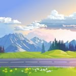 Mountains and Valleys - Landscape Mural Example